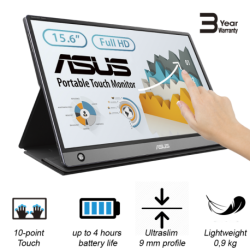 """Asus MB16AMT 15.6 """" Touchscreen IPS FHD 16:9 5 ms 250 cd/m Dark gray HDMI ports"""